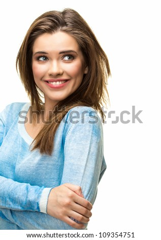 happy woman with big smile, studio white background isolated portrait
