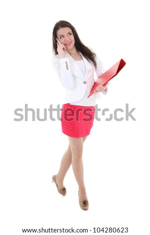 Happy woman with folder and telephone over white background