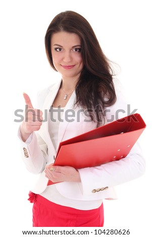 Happy woman with folder showing ok sign over white