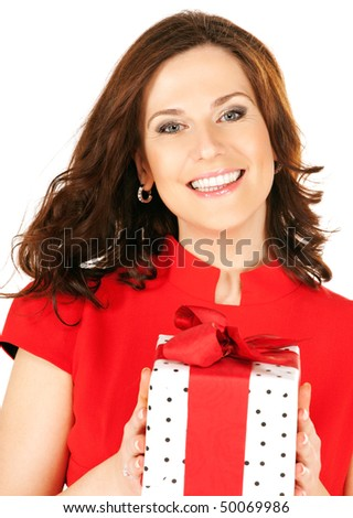 happy woman with gift box over white
