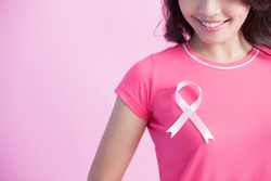Happy Woman with pink ribbon, great for prevention breast cancer concept