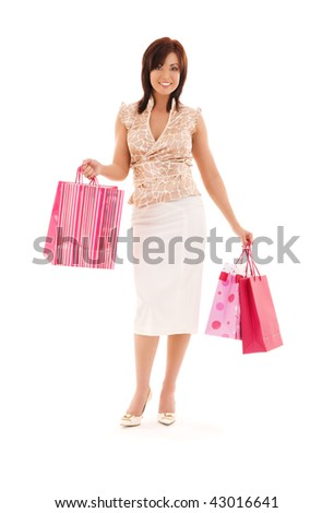 happy woman with pink shopping bags over white