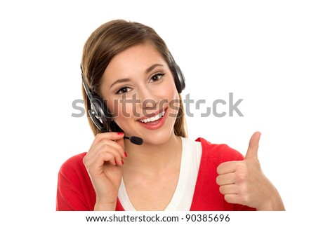 Happy woman with telephone headset