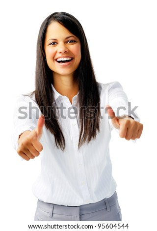 Happy woman with two thumbs up in approval, isolated on white