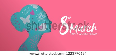 Happy Women Day holiday illustration. Paper cut girl head silhouette cutout with hand drawn spring and flower doodles. Horizontal format design ideal for web banner or greeting card.