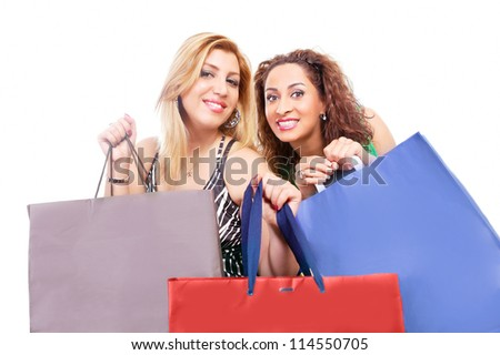 Happy women with shopping bags - with colorful spaces for your text or message