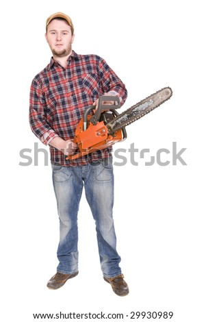 happy woodcutter with saw. over white background - stock photo