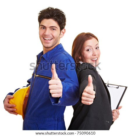 Happy worker and business woman holding their thumbs up