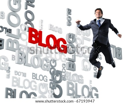 happy worker and 3d blog background