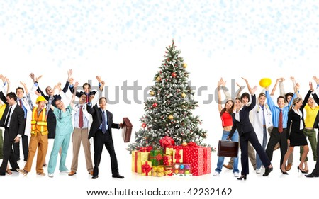 Happy workers people and Christmas tree. Over white background