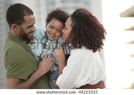 Happy young African American family