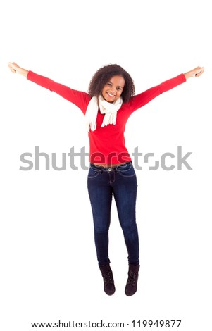 Happy young african woman expressing positivity sign, isolated over white