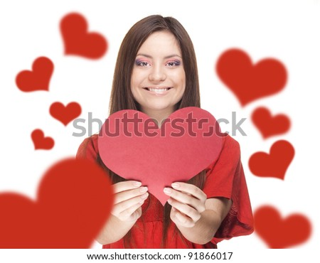 happy young attractive young woman holding a valentine's day heart , valentines day.