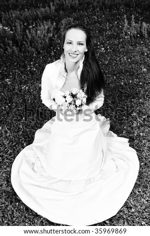 stock photo happy young beautiful bride after wedding ceremony event have
