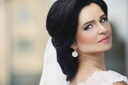 happy young beautiful luxurious stylish glamor gorgeous caucasian brunette bride ,Lviv