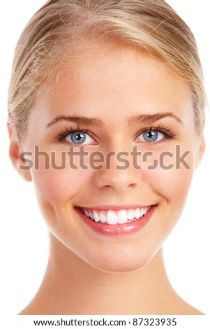 Happy young beautiful woman with healthy smile. Isolated over white background.
