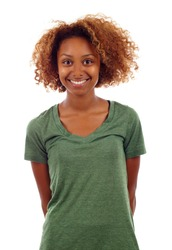 Happy young black fitness woman isolated over white background