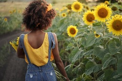 Happy young black woman walks in the sunflower field. Dark-skinned girl with with a bouquet of sunflowers and curly hair. Back view.