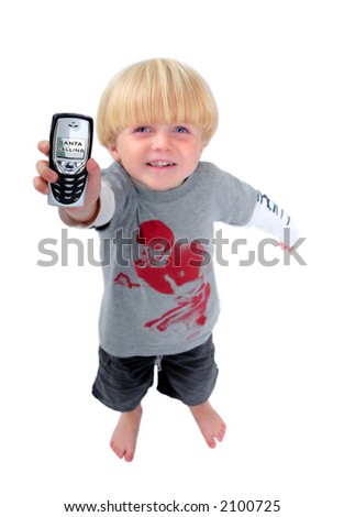 Happy young boy holding mobile phone with screen showing that santa or Father Christmas is calling with white isolated background - stock photo