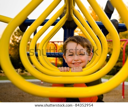Happy young boy or kid playing on monkey bars at playground.
