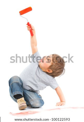 happy young boy painting. Vertical view. Isolated over white background. - stock photo