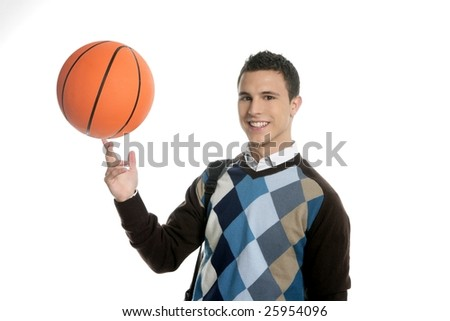 Happy young boy student with basketball ball, isolated on white