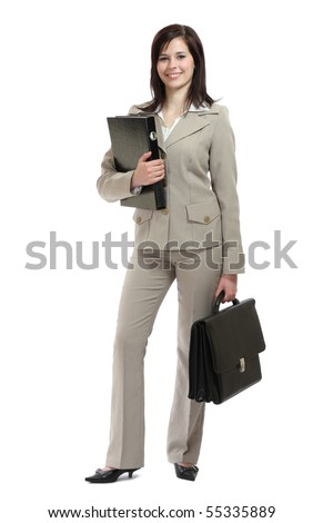 happy young brunette businesswoman