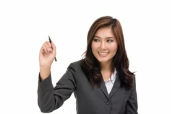 Happy young business Asian woman writing or drawing something on screen,concept positive emotions and facial expression,portrait of beautiful Asian woman,isolated on white background