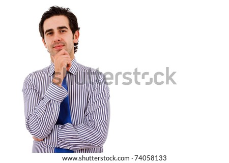 Happy young business man isolated on white background