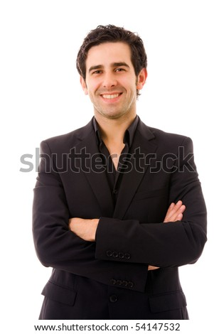 Happy young business man portrait isolated on white