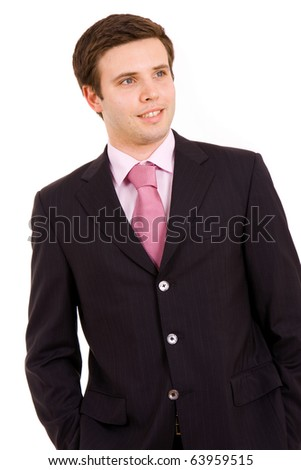 Happy Young business man portrait. Isolated on white