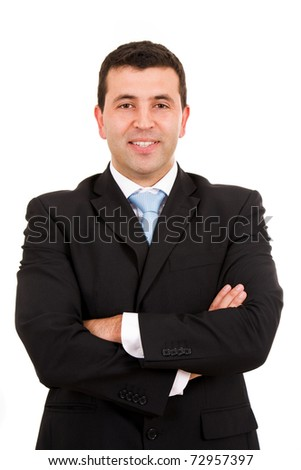 Happy young business man portrait, isolated on white