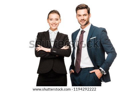 happy young business partners looking at camera isolated on white