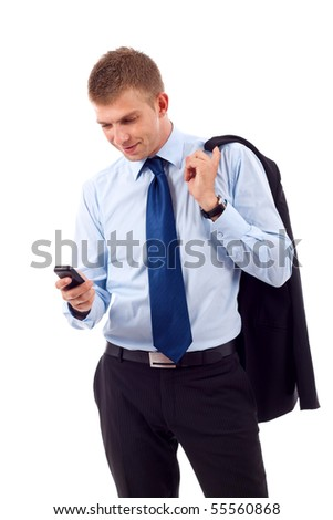 Happy young Caucasian business executive text messaging on cellphone, isolated on white