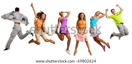 Happy young caucasian people jumping into the air, isolated on white