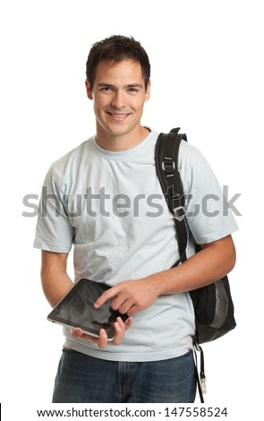 Happy Young College Student Holding Tablet on Isolated White Background