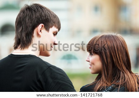 Happy young couple flirting