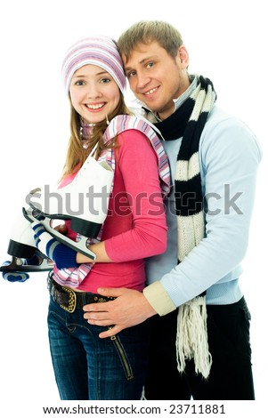 happy young couple going ice-skating, isolated against white background