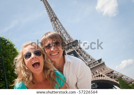 Happy young couple having fun in Paris France