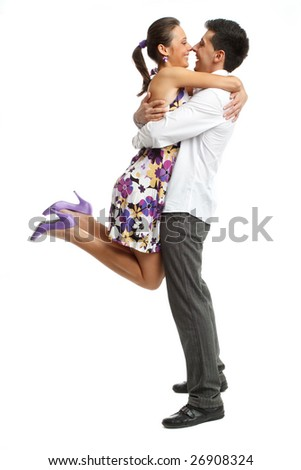 Happy young couple having fun, isolated on white