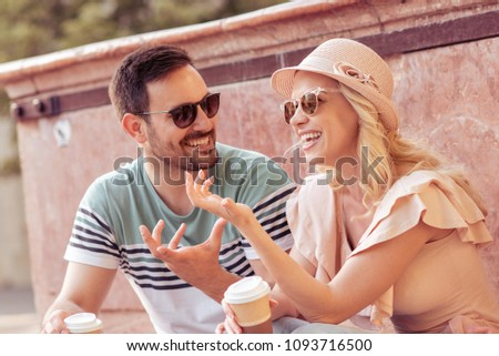 Happy young couple in love hugging,enjoying in spring day together. #1093716500