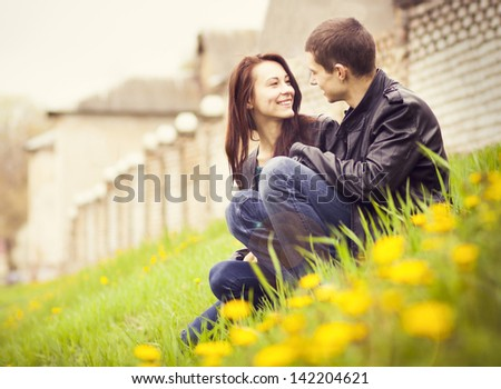 happy young couple in love outdoor in spring
