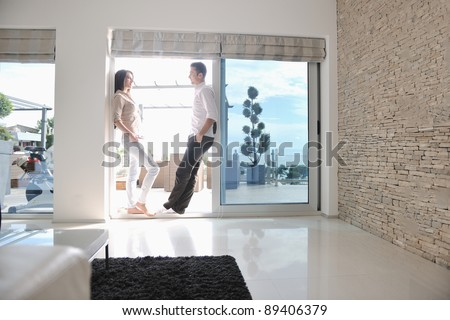 happy young couple relax at modern home living room indoor #89406379