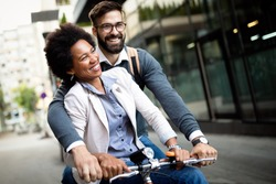 Happy young couple with bicycle. Love, relationship, people, freedom concept.