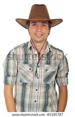 Happy young cowboy with hat isolated on white background