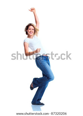 Happy young dancing woman. Isolated over white background.