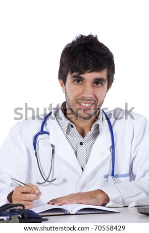 happy young doctor at his office (isolated on white)