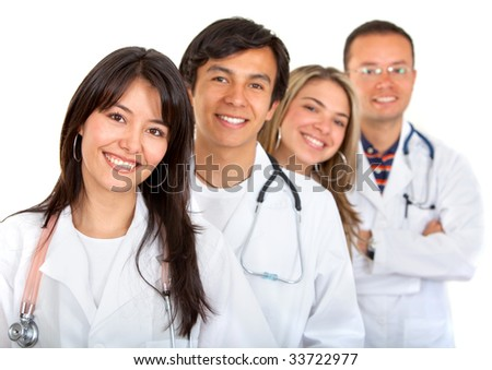 happy young doctors on isolated white background