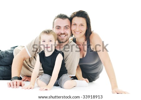 happy young family man and woman play with beautiful child son isolated on white