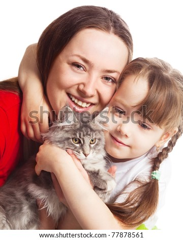 happy young family; mother, her daughter and a cat isolated against white background